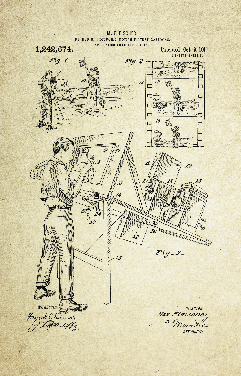 Method of Producing Moving Cartoons Patent Poster (1917, M. Fleischer)