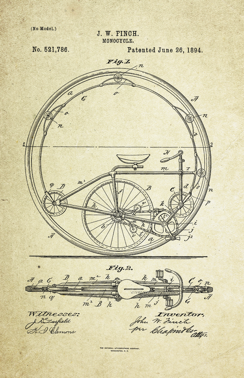 Monocycle Patent Poster (1894, J.W. Finch)