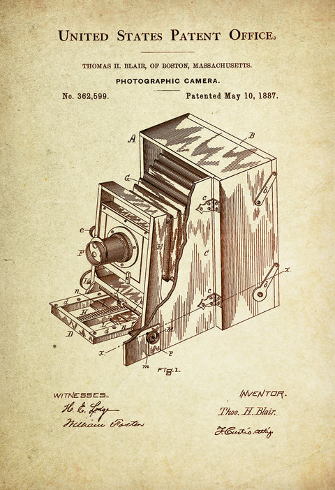 Bellows/Accordion Folding Camera Patent Poster Wall Decor (1887 by Thomas Blair)