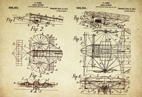 Aerial Machine/ Plane Patent Poster wall decor (1911 by E Losse)