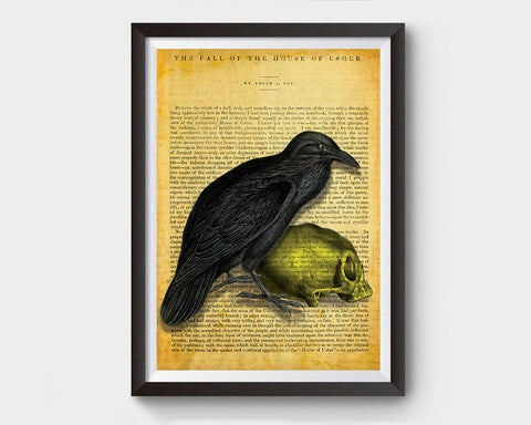 Vintage Raven with Skull, Edgar Allan Poe Inspired Art Poster