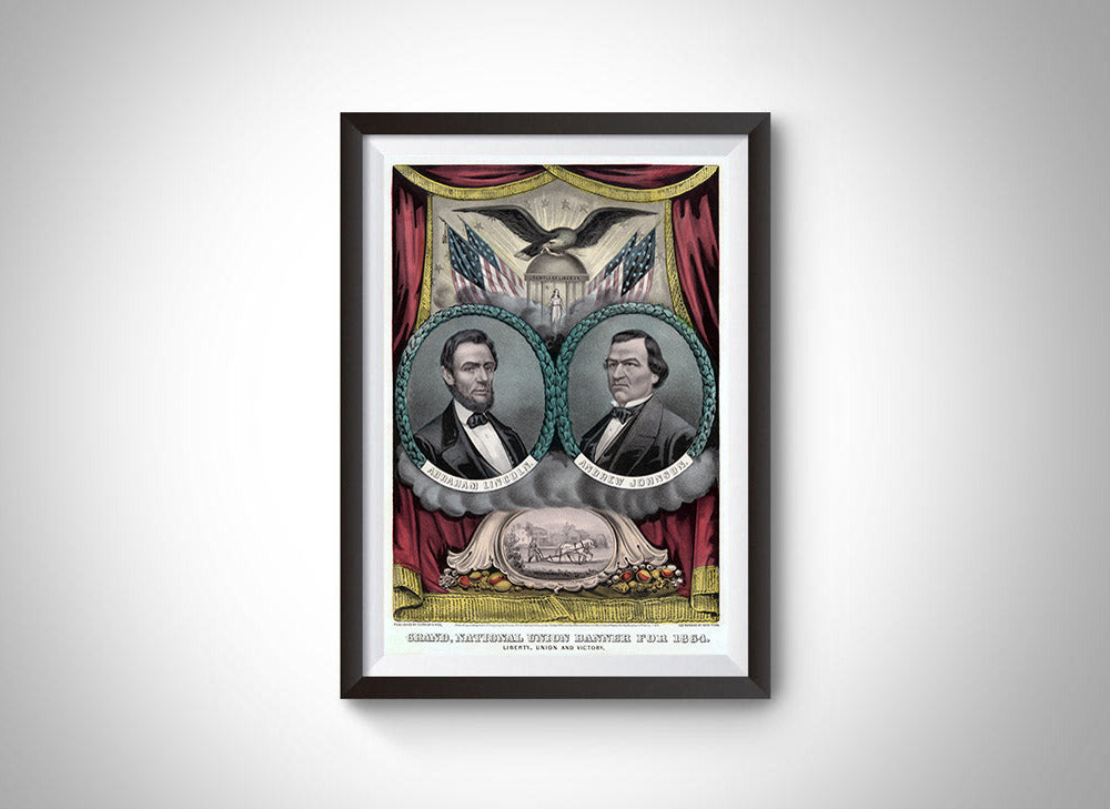 Lincoln and Johnson Vintage Ad Campaign Poster