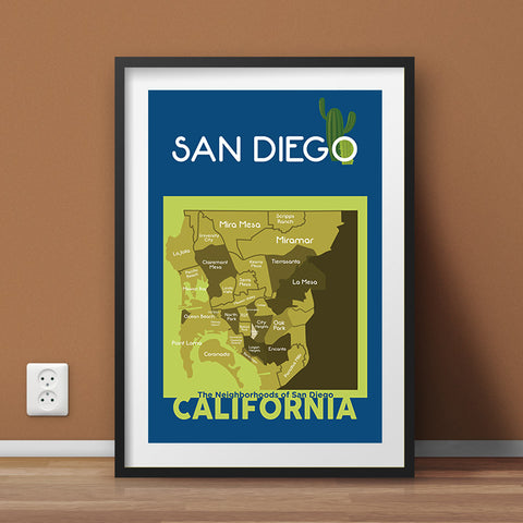 San Diego Neighborhood Map Wall Art