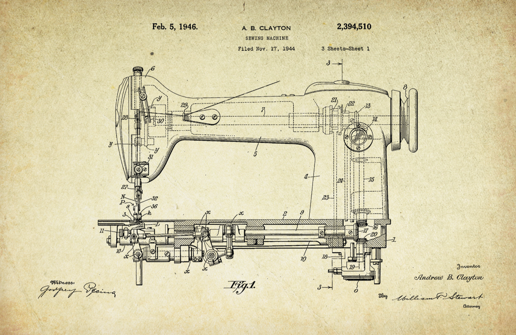 Sewing Machine Patent Poster (1946, A.B. Clayton)