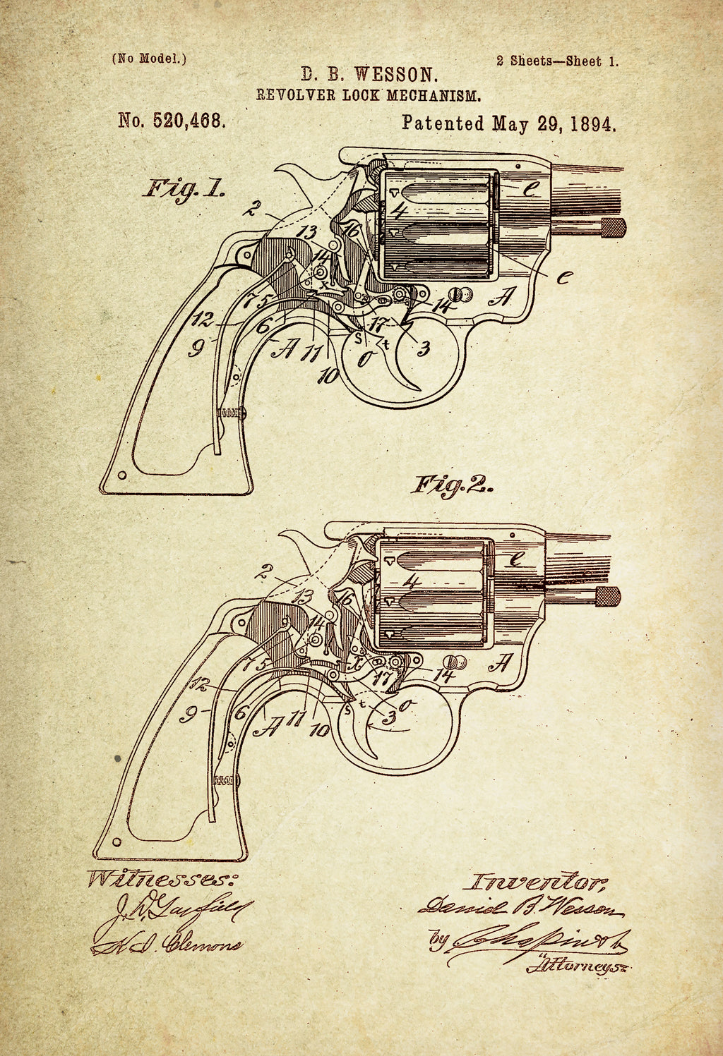 Wesson Revolver Lock Mechanism Patent Poster Wall Decor (1894 by D.B Wesson)