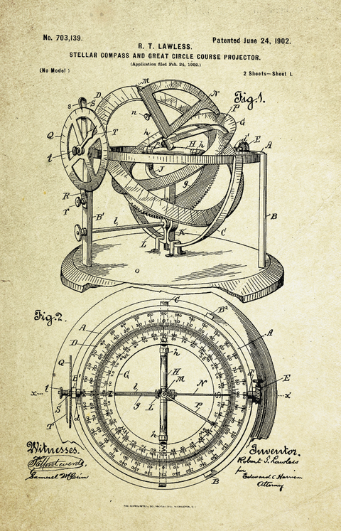 Stellar Compass & Great Circle Course Projector Patent Poster (1902, R.T. Lawless)
