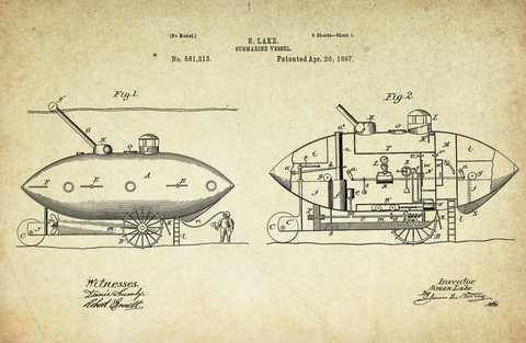 Submarine Vessel Patent Poster (1897, S. Lake)