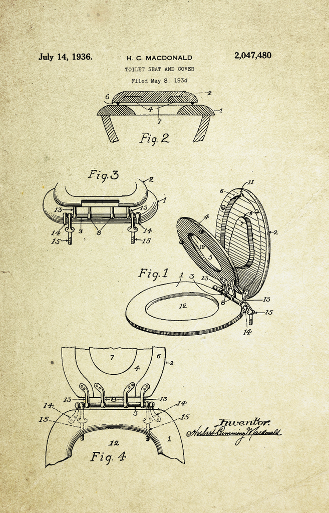 Toilet Seat Cover Patent Poster (1936, H.C. Macdonald)