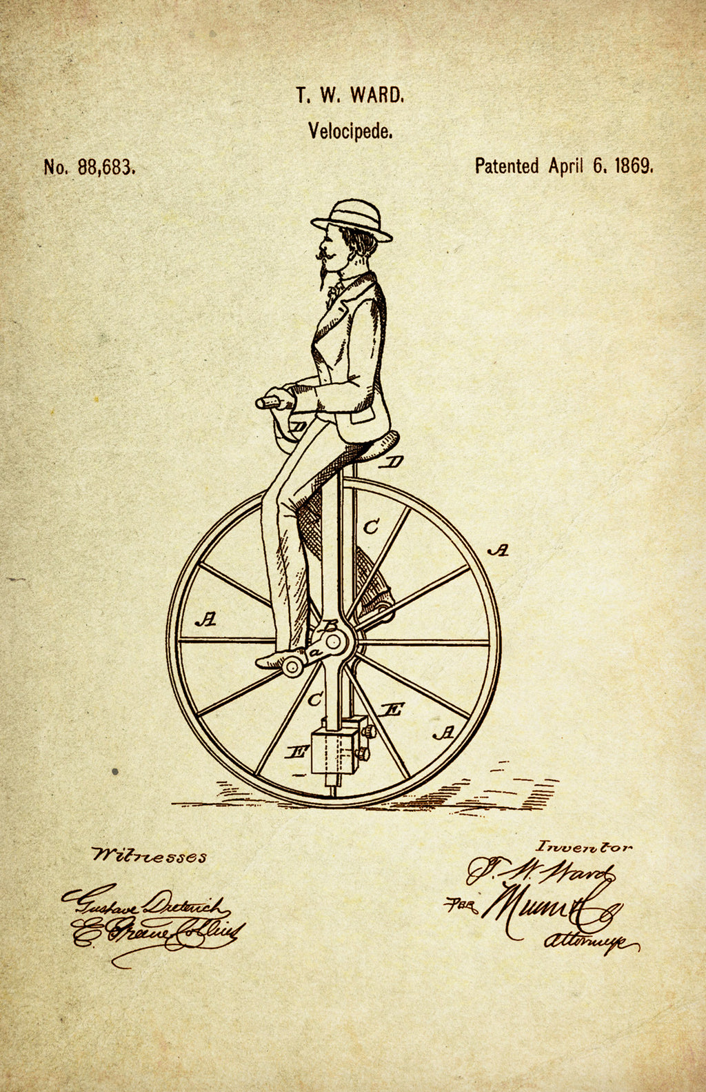 Unicycle/Velocipede Patent Poster Wall Decor (1869 by T.W. Ward)