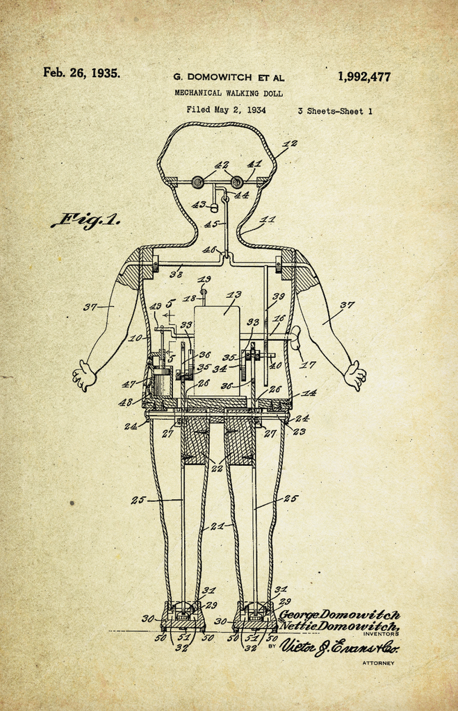 Mechanical Walking Doll Patent Poster (1935, G. Domowitch)