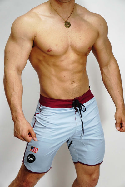 Gray/Burgundy Stage Shorts