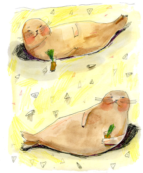 Seals and cocktails notecard