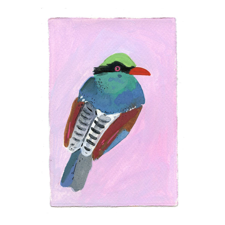 Green Magpie Bird painting on paper