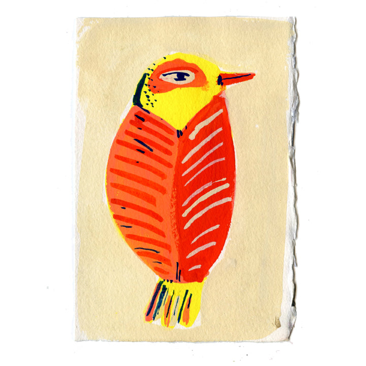 yellow and red bird artwork