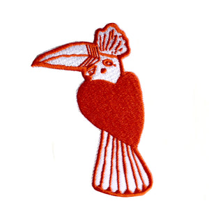 Heart bird embroidered patch