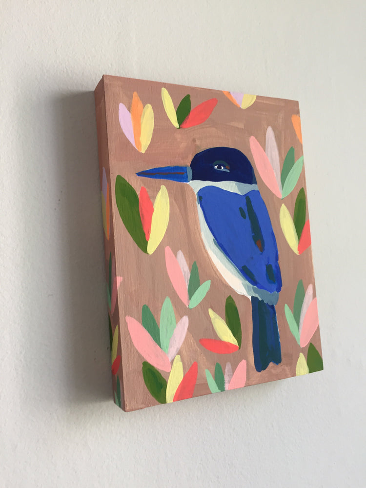 Blue bird painting on a wood panel
