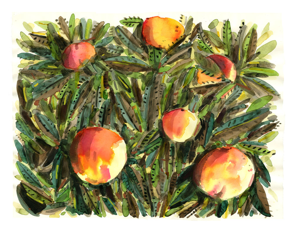 Peach Tree watercolor painting