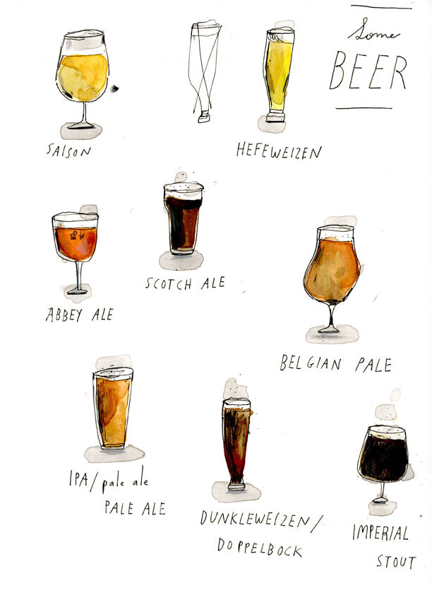 Some beer, watercolor drawing