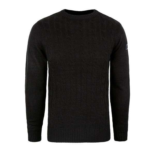 Union Badge Cable Knit Crew - Black