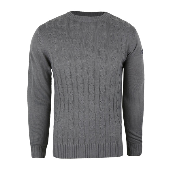Union Badge Cable Knit Crew - Grey