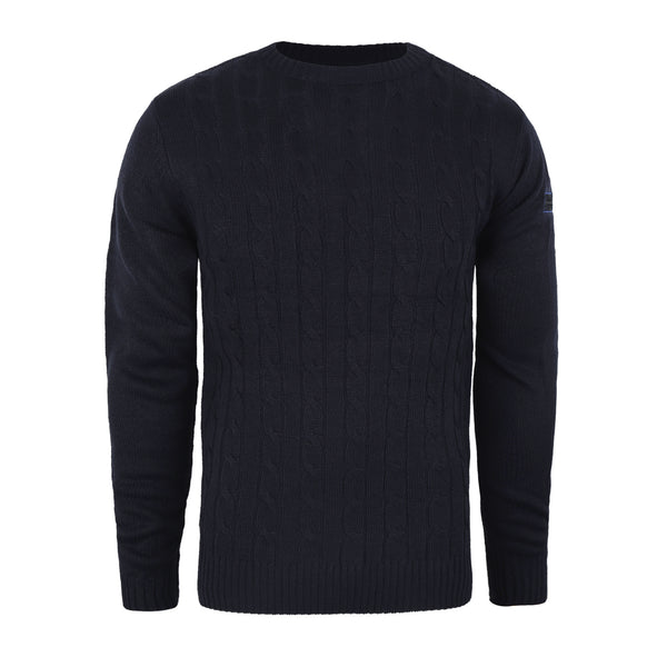 Union Badge Cable Knit Crew - Navy