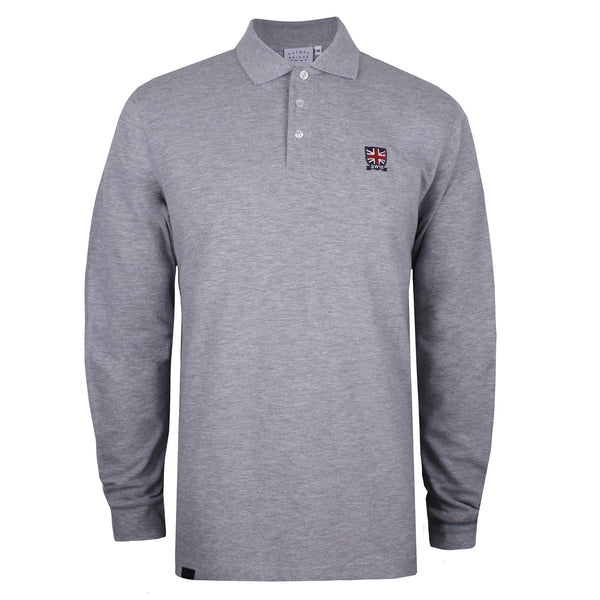 Union Badge L/S Polo Shirt - Grey Marl