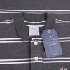 Union Badge Striped Polo Shirt - Grey/ White