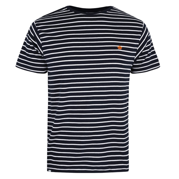 Crown Stripe T-Shirt - Navy/ White