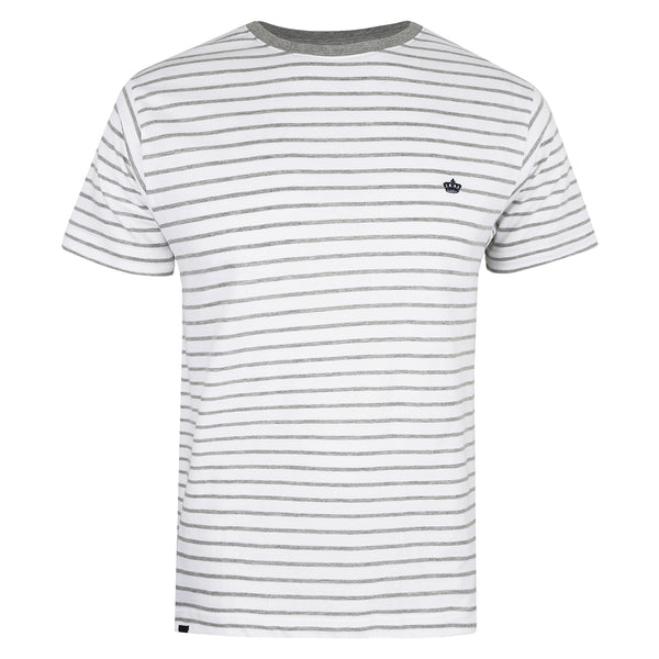 Crown Stripe T-Shirt - White/ Grey