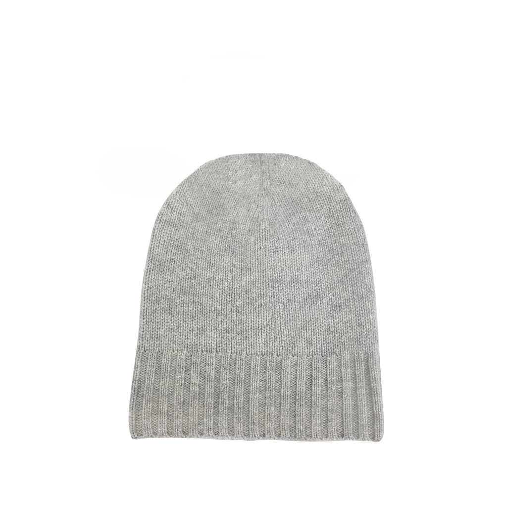 Cashmere Slouchy Cuff Hat- Light Grey