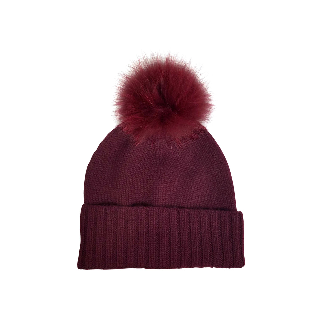 Cashmere Slouchy Cuff Hat with Real Fur Pom- Burgundy