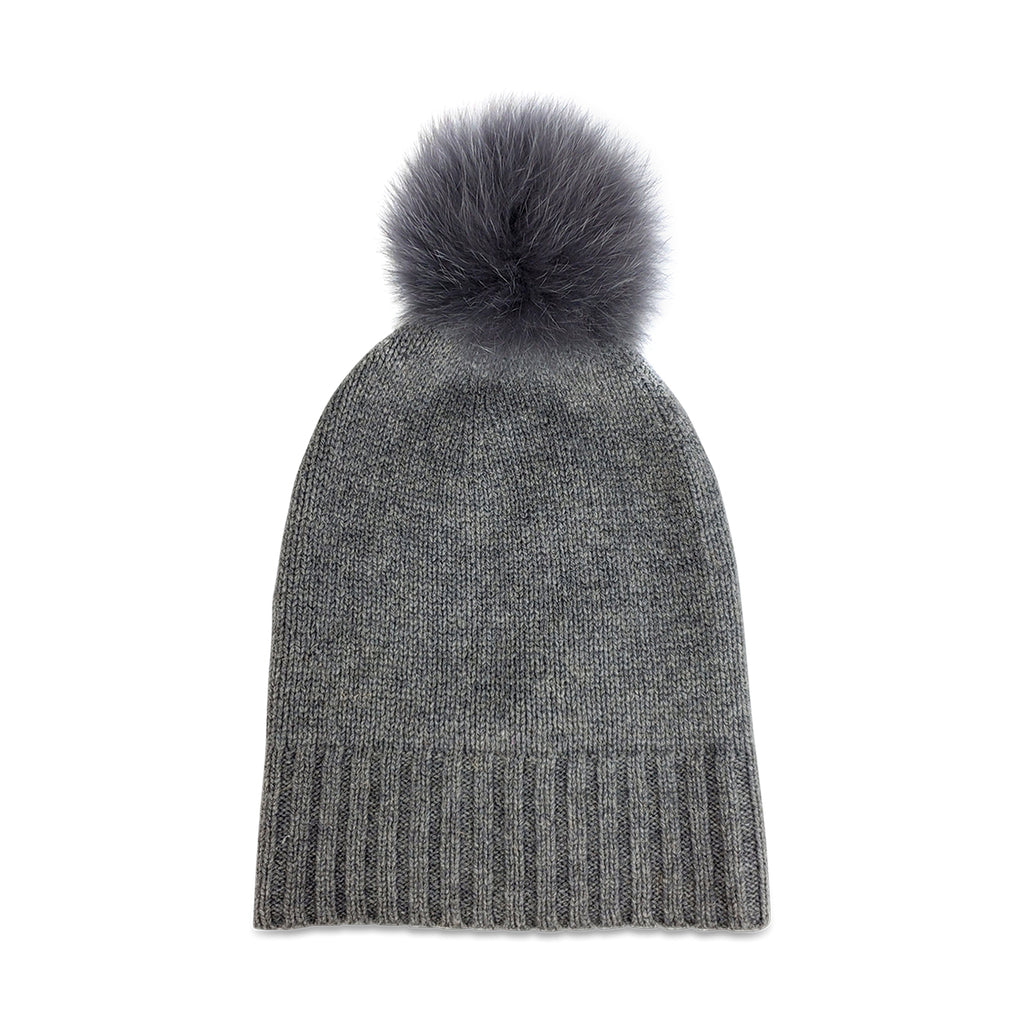Cashmere Slouchy Cuff Hat with Real Fur Pom- Charcoal