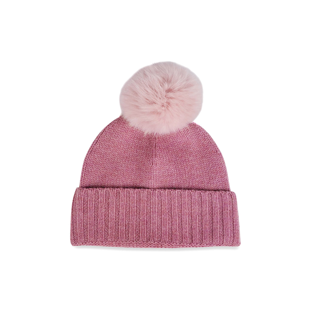 Cashmere Slouchy Cuff Hat with Real Fur Pom- Petal Pink