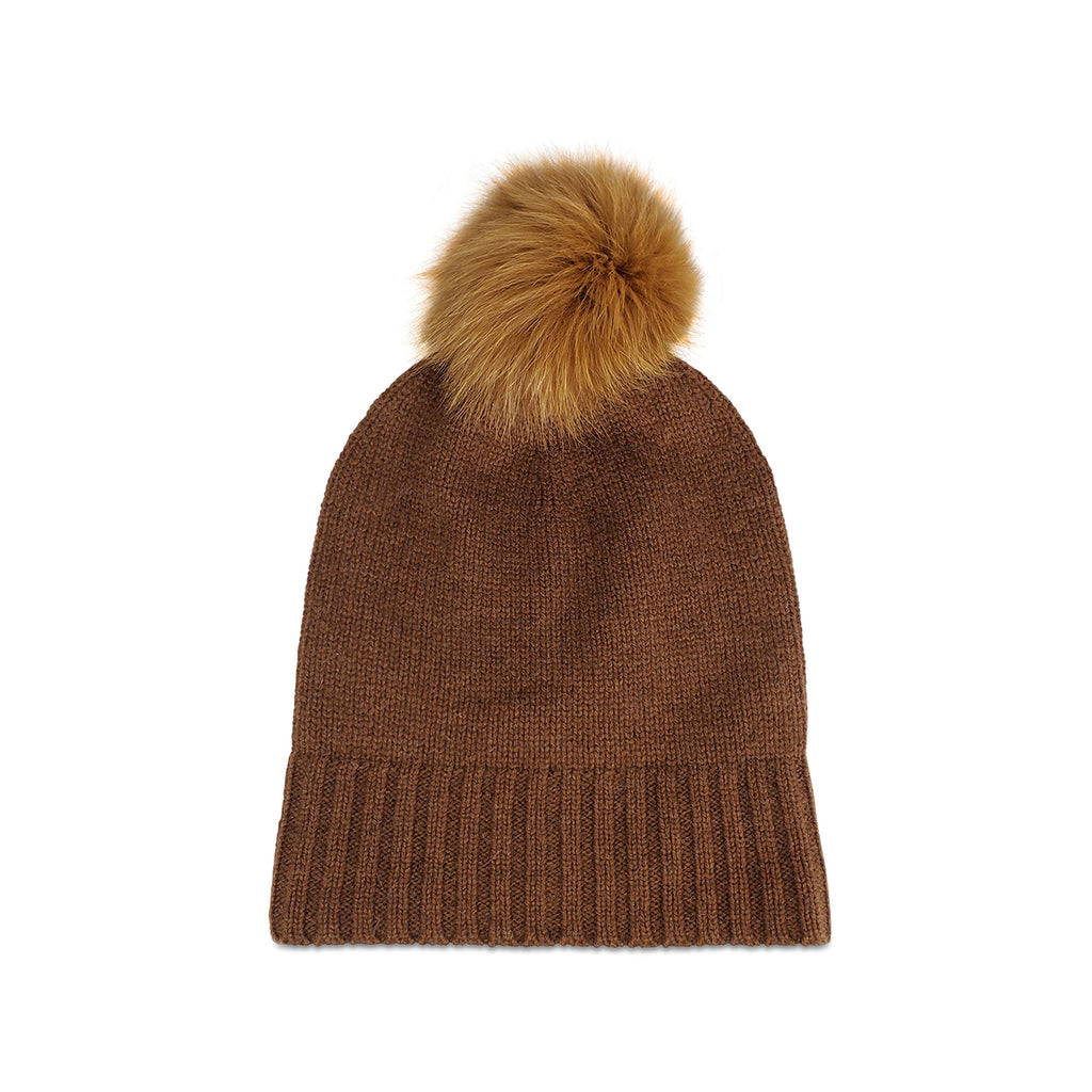 Cashmere Slouchy Cuff Hat with Real Fur Pom- Tobacco
