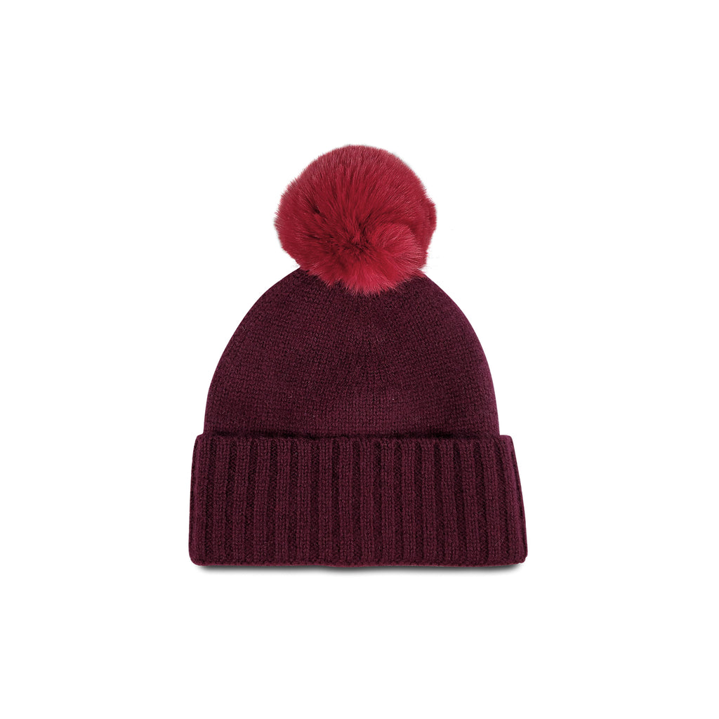 Cashmere Slouchy Cuff Hat with Faux Fur Pom- Burgundy