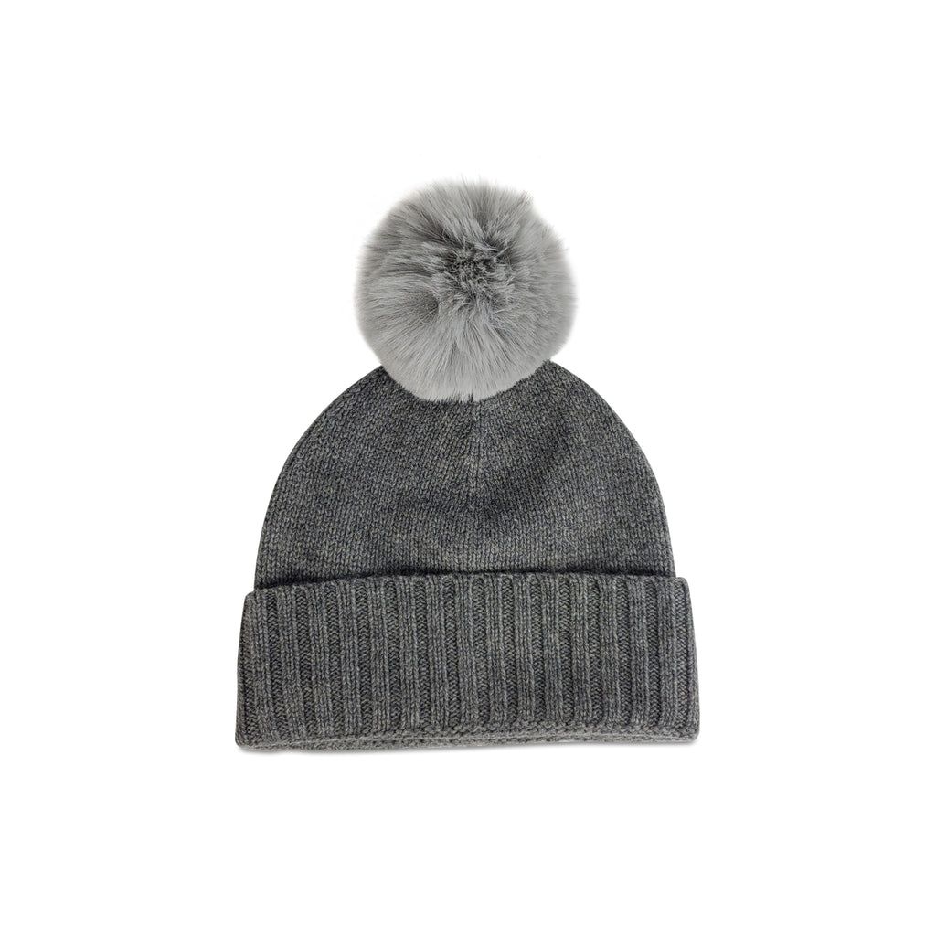 Cashmere Slouchy Cuff Hat with Faux Fur Pom- Charcoal