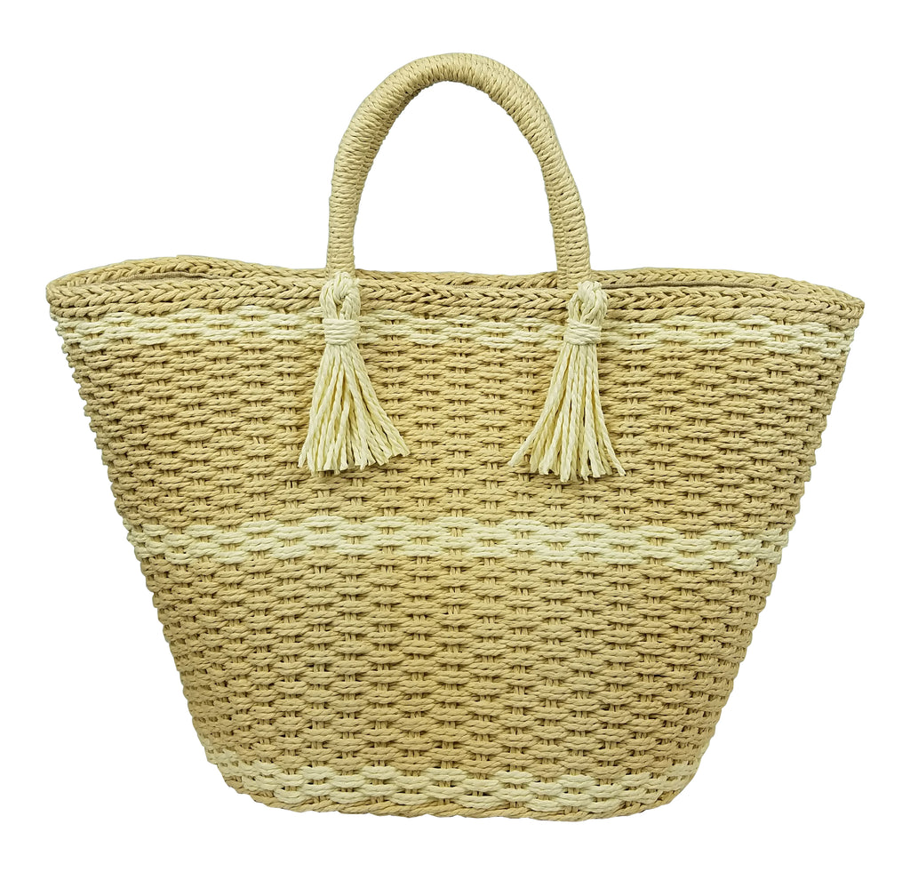 Large soft wicker tote- Natural