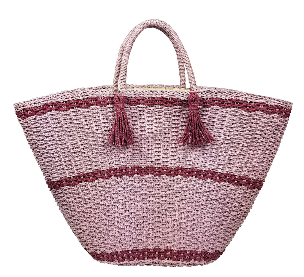Large Soft wicker tote- Pinks