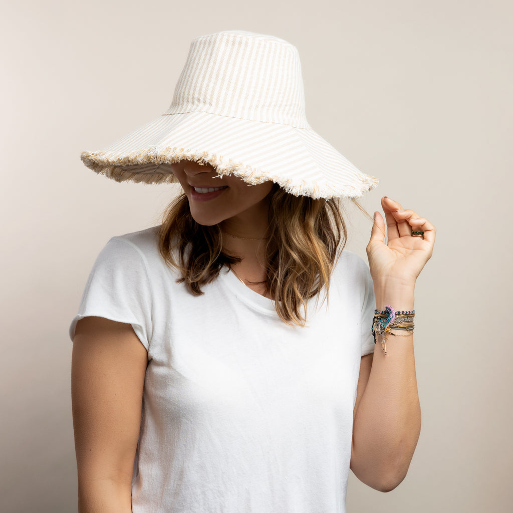 Canvas Packable Hat- Natural Stripe