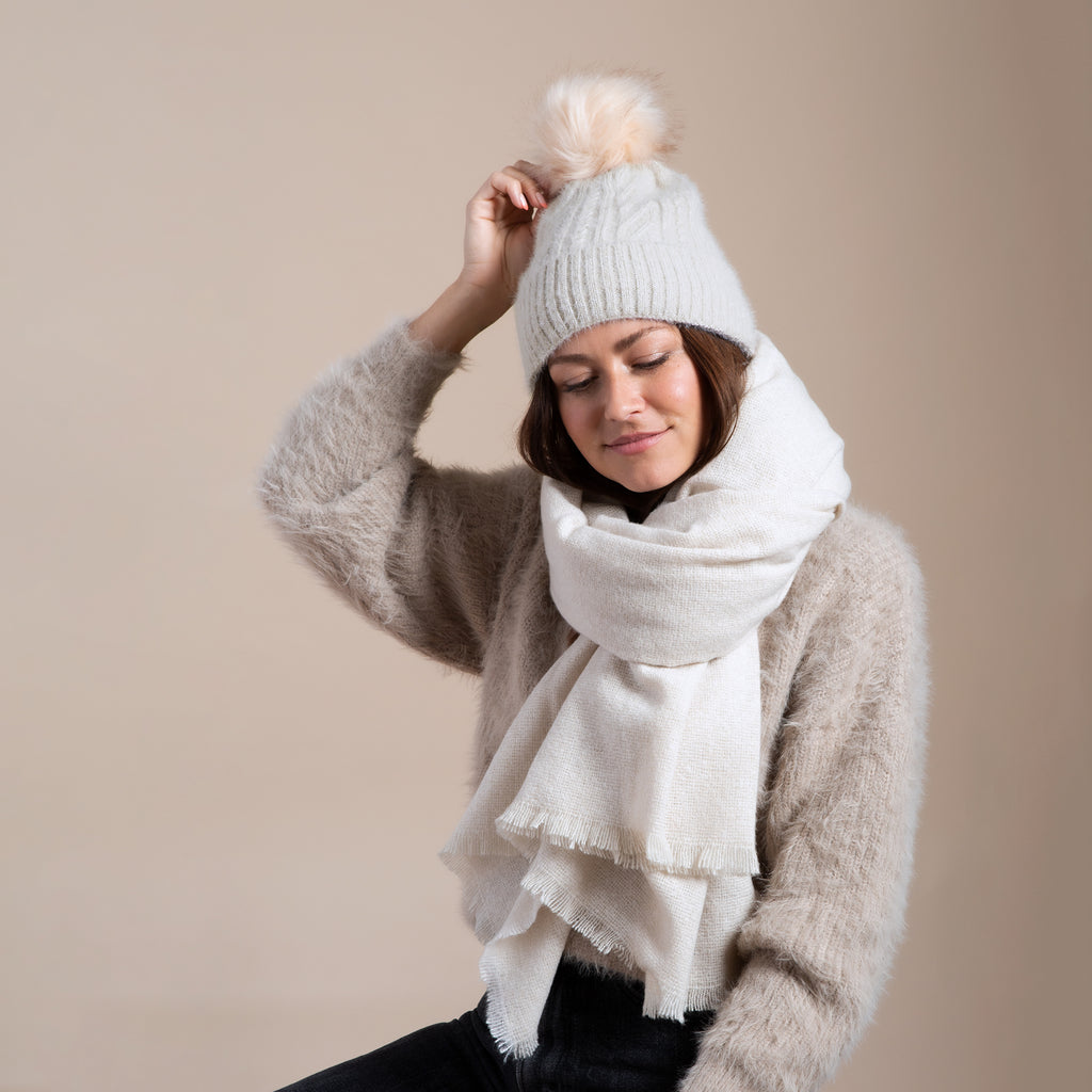 Classic Cable Pom Hat and Cozy Solid Scarf Set