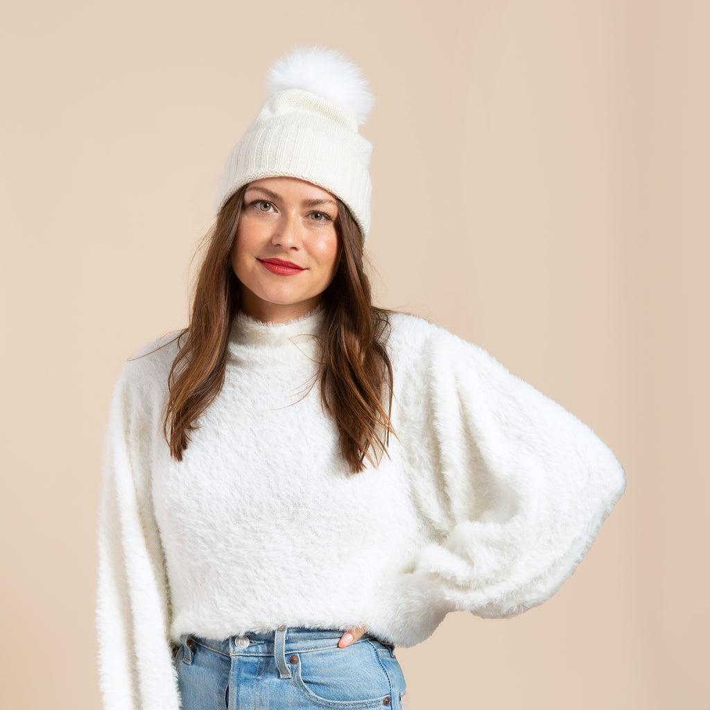 Cashmere Slouchy Cuff Hat with Real Fur Pom- Ivory