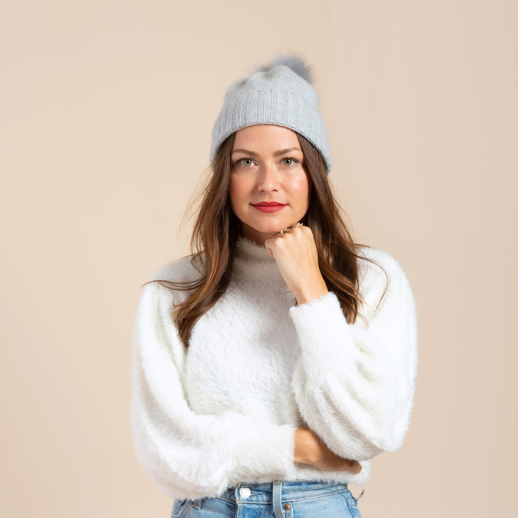 Cashmere Slouchy Cuff Hat with Real Fur Pom- Light Grey