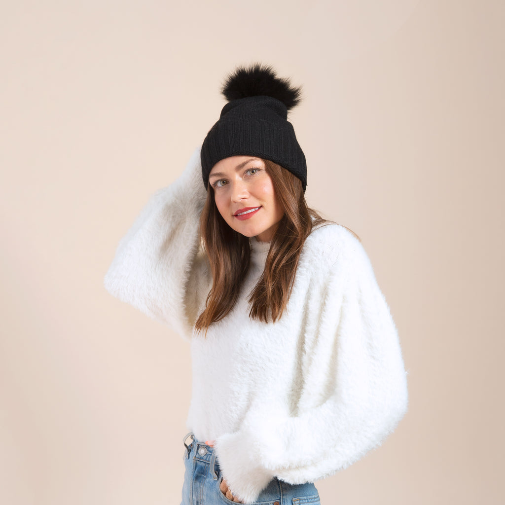 Cashmere Slouchy Cuff Hat with Real Fur Pom- Black