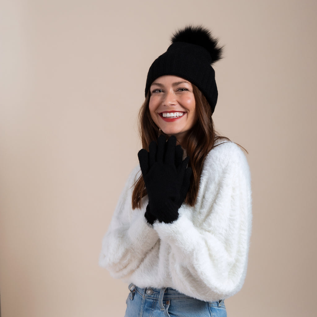 Cashmere Slouchy Cuff Hat and Glove Set