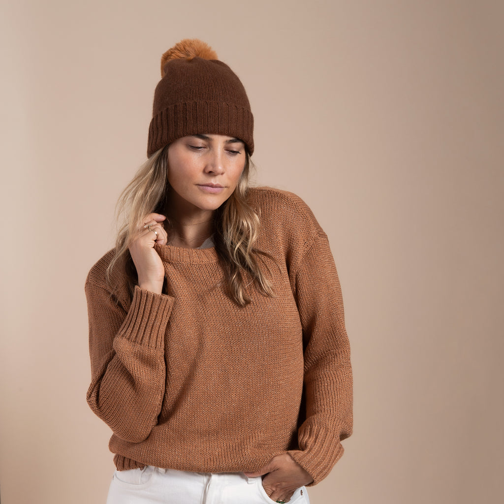 Cashmere Slouchy Cuff Hat with Faux Fur Pom- Tobacco