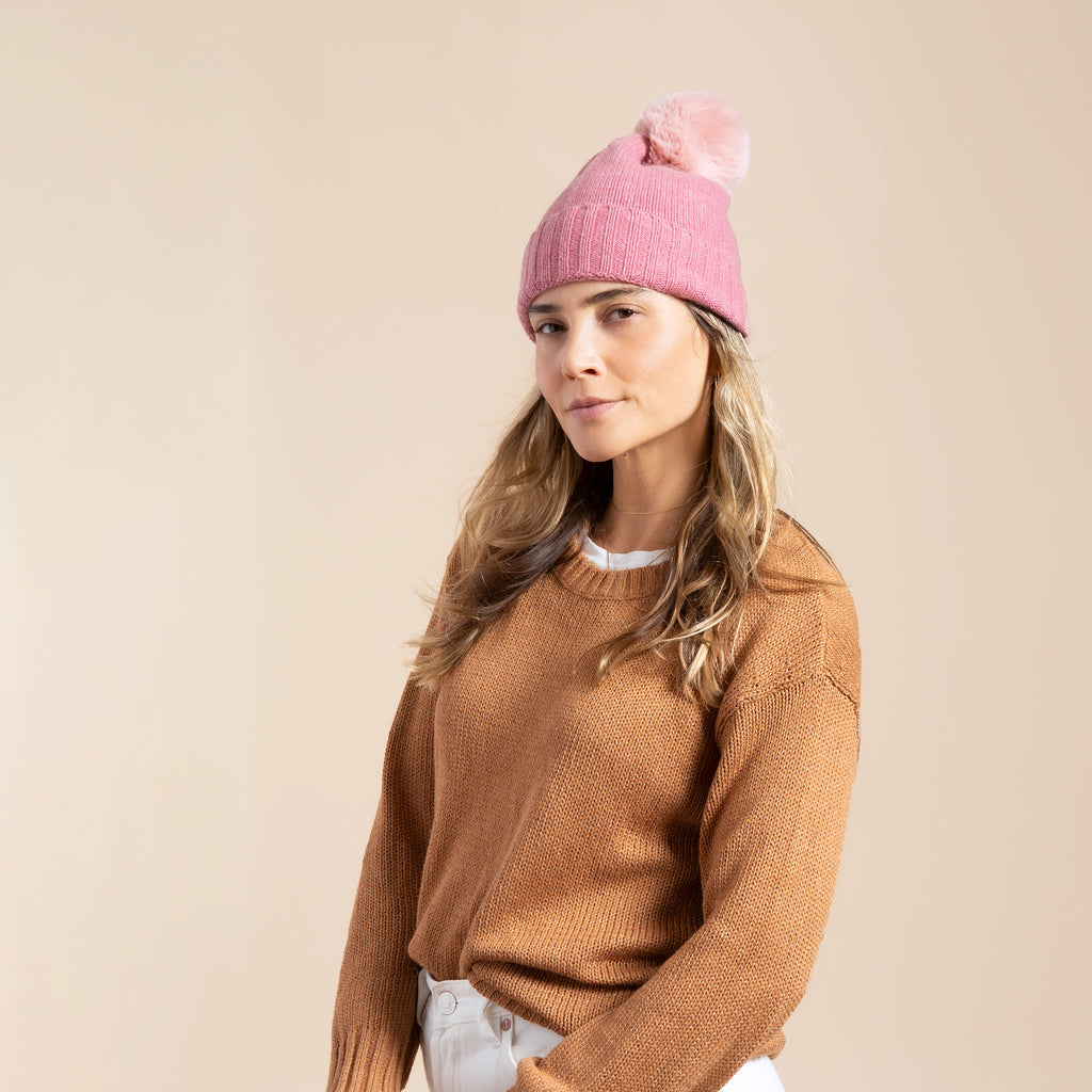Cashmere Slouchy Cuff Hat with Faux Fur Pom-Petal Pink
