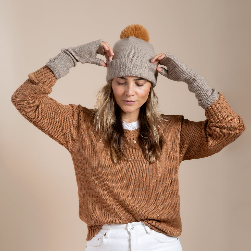 Cashmere Armwarmer- Taupe