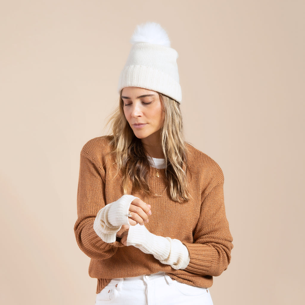 Cashmere Slouchy Cuff Hat with Faux Fur Pom- Ivory