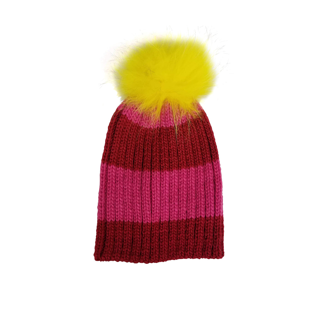 Happy Stripes Hat with Real Fur Pom