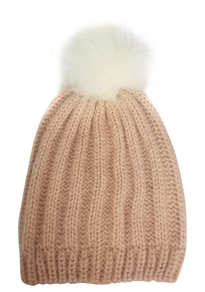 Rib Slouchy with Faux Fur Pom